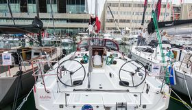Salone Nautico, Genua, Italien 2017 - nah oben von den Booten Stockbild