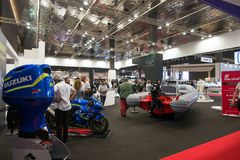 Salone Nautico - inside view of the engines, boats and sponsors. Salone Nautico is an international federation boat show that puts in exposition yachts, boats Stock Image