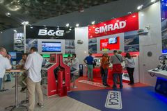 Salone Nautico - inside view of the engines, motors, accessories and sponsors. Salone Nautico is an international federation boat show that puts in exposition Stock Photo