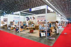 Salone Nautico - inside view of the engines, motors, accessories and sponsors. Salone Nautico is an international federation boat show that puts in exposition Royalty Free Stock Photos