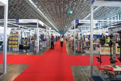 Salone Nautico - inside view of the engines, motors, accessories and sponsors. Salone Nautico is an international federation boat show that puts in exposition Royalty Free Stock Image