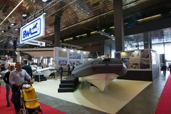 Salone Nautico - inside view of the engines, motors and sponsors. Salone Nautico is an international federation boat show that puts in exposition yachts, boats Royalty Free Stock Images