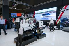 Salone Nautico - inside view of the engines, motors and sponsors. Salone Nautico is an international federation boat show that puts in exposition yachts, boats Royalty Free Stock Image