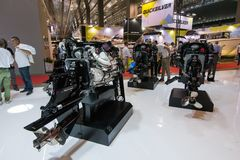 Salone Nautico - inside view of the engines and sponsors. Salone Nautico is an international federation boat show that puts in exposition yachts, boats, engines Stock Photos