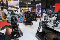 Salone Nautico - inside view of the engines and sponsors. Salone Nautico is an international federation boat show that puts in exposition yachts, boats, engines Stock Photo