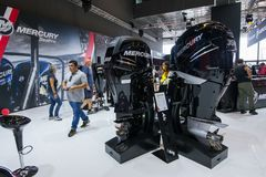 Salone Nautico - inside view of the engines and sponsors. Salone Nautico is an international federation boat show that puts in exposition yachts, boats, engines Stock Image