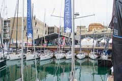 Salone Nautico, Genova, Italy 2017 - close up view of the luxurious boats . Royalty Free Stock Images