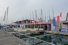 Salone Nautico, Genova, Italy 2017. Salone Nautico is an international federation boat show that puts in exposition yachts, boats, engines, unique designs and so Royalty Free Stock Image