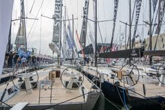 Salone Nautico, Genova, Italy 2017. Salone Nautico is an international federation boat show that puts in exposition yachts, boats, engines, unique designs and so Stock Images