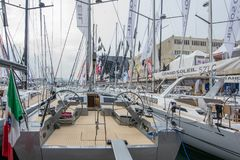 Salone Nautico, Genova, Italy 2017. Salone Nautico is an international federation boat show that puts in exposition yachts, boats, engines, unique designs and so Stock Image