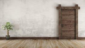 Salone nello stile rustico senza mobilia Fotografia Stock Libera da Diritti