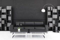 Salone nero, sofà nero illustrazione vettoriale