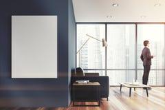 Salone panoramico grigio, manifesto tonificato Immagine Stock Libera da Diritti