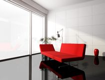 Salone rosso e bianco minimo Fotografia Stock Libera da Diritti