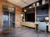 Salone scandinavo moderno contemporaneo urbano del sottotetto Immagini Stock