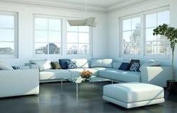 Salone skandinavian luminoso moderno di interior design Fotografia Stock Libera da Diritti