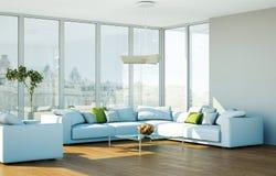 Salone skandinavian luminoso moderno di interior design Immagini Stock