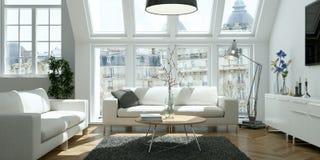 Salone skandinavian luminoso moderno di interior design Fotografia Stock