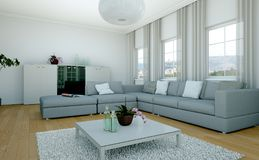 Salone skandinavian luminoso moderno di interior design Fotografie Stock