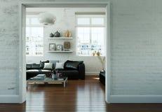 Salone skandinavian moderno di interior design con lo strato di cuoio nero Fotografia Stock Libera da Diritti