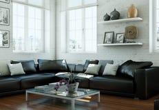 Salone skandinavian moderno di interior design con lo strato di cuoio nero Immagine Stock Libera da Diritti