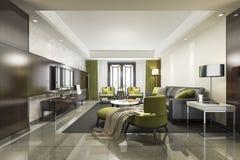 salone verde di lusso e moderno della rappresentazione 3d con il sofà illustrazione vettoriale