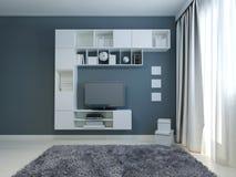 Salone vuoto con il gabinetto e l'affissione a cristalli liquidi TV Fotografie Stock Libere da Diritti