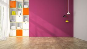 Salone vuoto con la rappresentazione porpora della parete 3D Immagini Stock Libere da Diritti