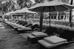 Salones en la playa del mar Fotografía de archivo libre de regalías