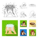 Salong, omsorg, hygien och annan rengöringsduksymbol i översikten, lägenhetstil Händer frisör, skönhet, symboler i uppsättningsam royaltyfri illustrationer