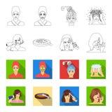 Salong, omsorg, hygien och annan rengöringsduksymbol i översikten, lägenhetstil Händer frisör, skönhet, symboler i uppsättningsam stock illustrationer