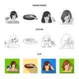 Salong, omsorg, hygien och annan rengöringsduksymbol i lägenheten, översikt, monokrom stil Händer frisör, skönhet, symboler i upp stock illustrationer
