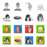 Salong, omsorg, hygien och annan rengöringsduksymbol i monokrom, lägenhetstil Händer frisör, skönhet, symboler i uppsättningsamli vektor illustrationer