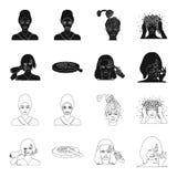 Salong, omsorg, hygien och annan rengöringsduksymbol i svart, översiktsstil Händer frisör, skönhet, symboler i uppsättningsamling stock illustrationer