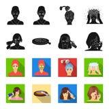 Salong, omsorg, hygien och annan rengöringsduksymbol i svart, fletstil Händer frisör, skönhet, symboler i uppsättningsamling vektor illustrationer
