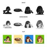 Salong, omsorg, hygien och annan rengöringsduksymbol i svart, lägenhet, monokrom stil Händer frisör, skönhet, symboler i uppsättn stock illustrationer