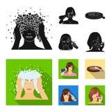 Salong, omsorg, hygien och annan rengöringsduksymbol i svart, lägenhetstil Händer frisör, skönhet, symboler i uppsättningsamling royaltyfri illustrationer