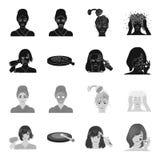 Salong, omsorg, hygien och annan rengöringsduksymbol i svart, monokrom stil Händer frisör, skönhet, symboler i uppsättningsamling stock illustrationer