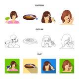 Salong, omsorg, hygien och annan rengöringsduksymbol i tecknade filmen, översikt, lägenhetstil Händer frisör, skönhet, symboler i vektor illustrationer