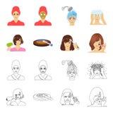 Salong, omsorg, hygien och annan rengöringsduksymbol i tecknade filmen, översiktsstil Händer frisör, skönhet, symboler i uppsättn stock illustrationer