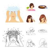 Salong, omsorg, hygien och annan rengöringsduksymbol i tecknade filmen, översiktsstil Händer frisör, skönhet, symboler i uppsättn vektor illustrationer