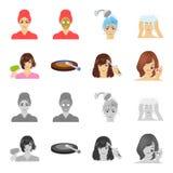 Salong, omsorg, hygien och annan rengöringsduksymbol i tecknade filmen, monokrom stil Händer frisör, skönhet, symboler i uppsättn vektor illustrationer