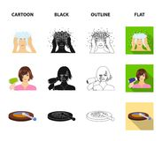 Salong, omsorg, hygien och annan rengöringsduksymbol i tecknade filmen, svart, översikt, lägenhetstil Händer frisör, skönhet, sym stock illustrationer