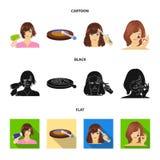 Salong, omsorg, hygien och annan rengöringsduksymbol i tecknade filmen, svart, lägenhetstil Händer frisör, skönhet, symboler i up stock illustrationer