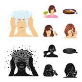 Salong, omsorg, hygien och annan rengöringsduksymbol i tecknade filmen, svart stil Händer frisör, skönhet, symboler i uppsättning royaltyfri illustrationer