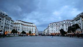 Salonicco, Grecia - 14 marzo 2019: Quadrato di Aristotelous a lungomare di Salonicco Vista dell'architettura fotografie stock