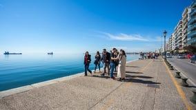 10 03 2018 Saloniki, Grecja - Chodząca wycieczka turysyczna portem Th Zdjęcie Royalty Free