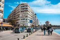 10 03 2018 Saloniki, Grecja - Chodząca wycieczka turysyczna portem Th Obrazy Royalty Free