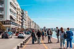 10 03 2018 Saloniki, Grecja - Chodząca wycieczka turysyczna portem Th Obraz Royalty Free