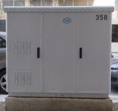 Saloniki, Grecja instalował OTE DSLAM włókna światłowodowe gabinetowych Zdjęcia Stock